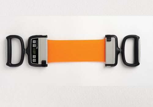 The Rolyan Smart Handle from Patterson Medical provides real-time feedback of force exerted and repetitions completed during elastic band exercises.