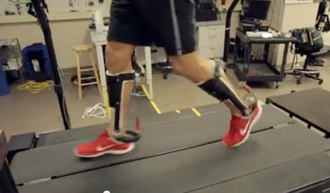 The walking assist clutch was developed as a non-powered exoskeleton that reduces the energy expended for walking. (Image courtesy of UNC Chapel Hill.)